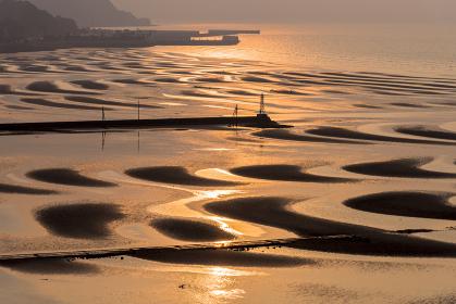 おこしき海岸の干潟・夕景