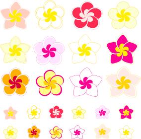 プルメリアの花のイラストアイコンセット