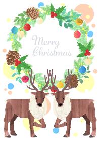 クリスマスリースとトナカイのクリスマスカード ベクターイラスト