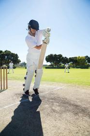 Full length of batsman standing on pitch