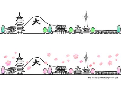 シンプル手書きの春の京都の街並み線画セット/ピンク