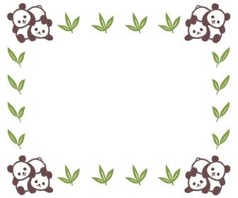 じゃれ合う双子の子供パンダのフレーム
