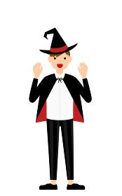 ハロウィンの仮装、魔法使い姿の男の子が両手を構えて驚かせるポーズ