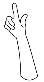 上向きの手 白黒 爪なし