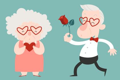 幸せな高齢カップル、男性から女性にバラを贈るイラスト