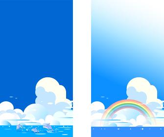 イルカと虹の青い海の積乱雲のある背景
