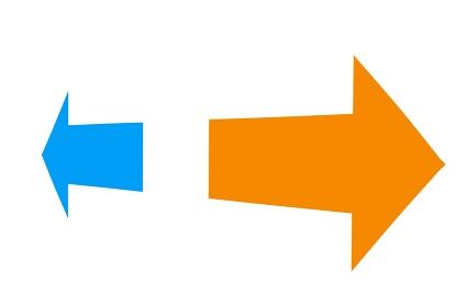 赤色を強調した左右の矢印