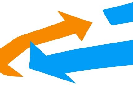 青と赤の回転をイメージした矢印のアップ素材