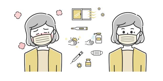 熱が出て具合が悪い年配の女性 イラスト