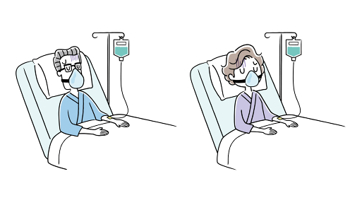 イラスト素材:酸素マスクを付けて入院しているシニア男性とシニア女性、高齢者