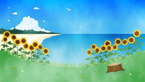 ヒマワリと海の風景イラスト 夏 水彩 背景素材