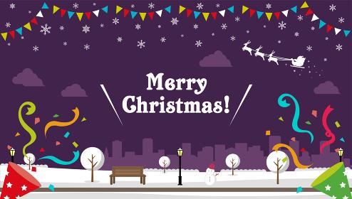 """Merry Christmas!"" クリスマス バナーベクターイラスト/ 冬の公園"