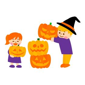 かぼちゃを積み上げるこどものイラスト