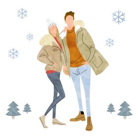 イラスト素材:冬のファッション、若いカップル