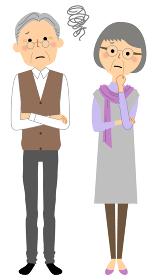 困る老夫婦 シニアカップル 高齢者