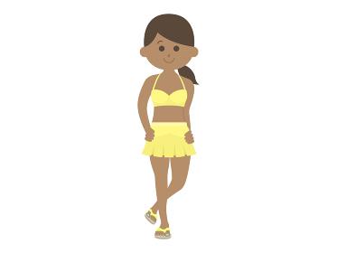 日焼けした水着女性のイラスト