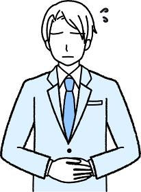 両手を前に合わせて謝罪しているスーツ姿のビジネスマン
