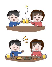 フェイスシールドをして飲食店で乾杯・食事をするカップル
