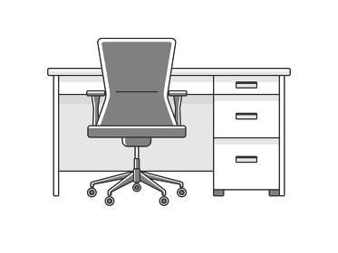 オフィスデスクとオフィスチェアのイラスト