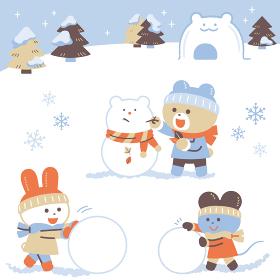 雪あそびをするクマ・ウサギ・ネズミ/セット/4色・シンプルカラー