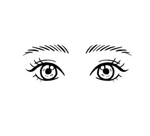 まつ毛パーマをかけた目元のイラスト 線画