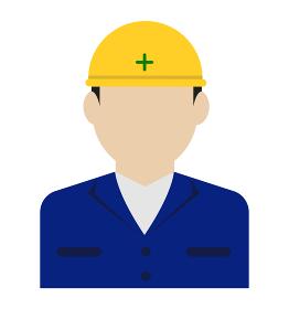 上半身シルエット人物イラスト (アジア人・日本人) / 工事作業員・肉体労働者