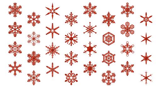 雪の結晶のアイコンセット(赤)