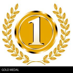 金の月桂樹・ローレルつきゴールドメダルイラスト1位金メダル