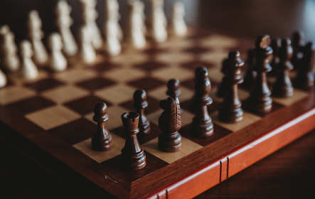 Close up of wooden chess pieces on a chess game board.