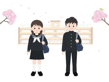 学生 中高生 男女 入学 校舎 全身 イラスト素材