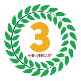 Template Logo 3 Anniversary in Laurel Wreath Vector Illustration EPS10. Template Logo 3 Anniversary in Laurel Wreath Vector Illustration