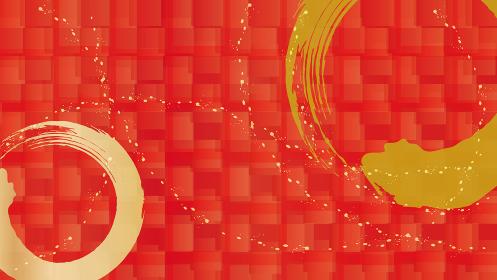 丸い金色の筆ストロークと市松模様の背景イラスト 赤バージョン