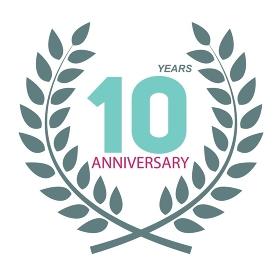 Template Logo 10 Anniversary in Laurel Wreath Vector Illustration EPS10. Template Logo 10 Anniversary in Laurel Wreath Vector Illustratio