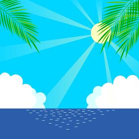 太陽の光と海とヤシの木のイラスト素材