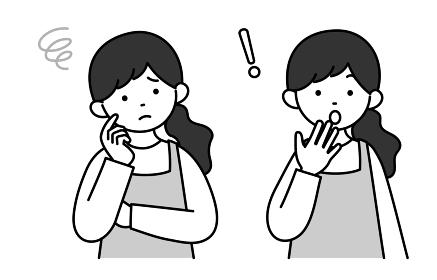 モノクロイラスト 主婦の表情セット6