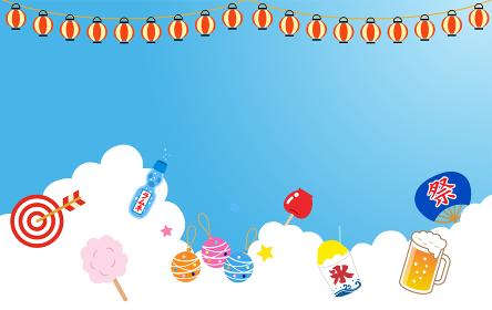 入道雲と夏祭のイラストアイコン