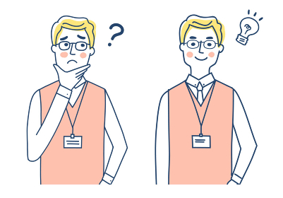IDカードホルダーを胸に下げた男性 表情2パターン
