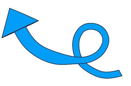 一回転して伸びる青い矢印「黒淵あり」