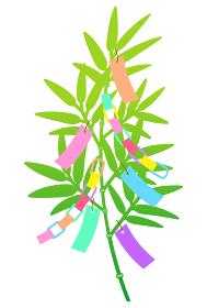 カラフルな七夕の笹飾りのイラスト