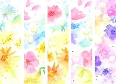 水彩で描いた幻想的な花模様の縦ライン