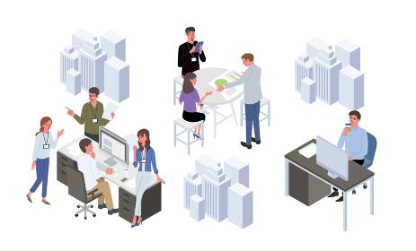 打ち合わせをする人々 ミーティングの風景 アイソメトリック イラスト