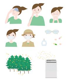 花粉症の症状の女性 杉林 空気清浄機