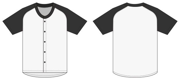 半袖 ベースボールシャツ・ユニフォーム テンプレートイラスト