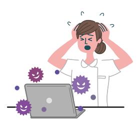 医師 医者 看護師 医療従事者 女性 パソコン ウイルス 焦っている