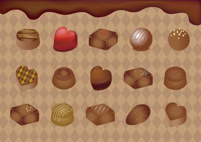 バレンタイン チョコレート ギフト 背景 イラスト素材