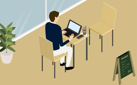 ウッド調のカフェのテラス席でパソコン作業をする人、アイソメトリック