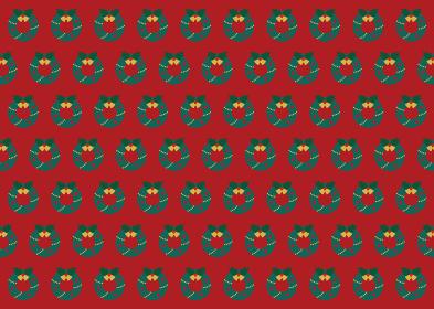 【パターン素材】クリスマスリースの背景【ベクター】