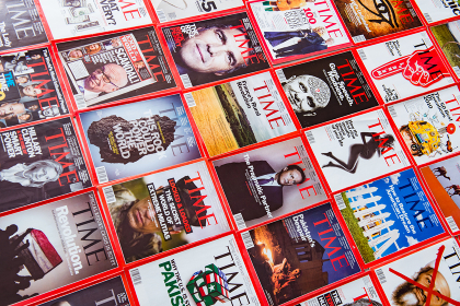 New York - MARCH 7, 2017: Time Magazine on March 7 in New York, USA. Time magazine is a popular US publication. New York - MARCH 7, 2017: Time Magazine on March 7 in New York,