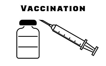 ワクチン接種の注射器と小瓶のイラスト