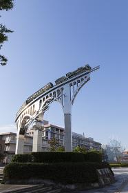米子駅前の蒸気機関車のモニュメント
